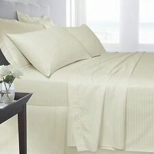 Cream Bedding 250 TC 100% Satin Stripe Fitted Flat Duvet Quilt Cover Pillow Case