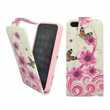APPLE IPHONE 5/5S WHITE PINK SWIRL FLOWER BUTTERFLY PRINT PU LEATHER FLIP CASE