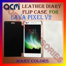 ACM-LEATHER DIARY FOLIO FLIP FLAP CASE for LAVA PIXEL V2 MOBILE FRONT/BACK COVER