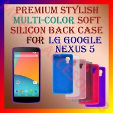 ACM-PREMIUM MULTI-COLOR SOFT SILICON BACK CASE for LG GOOGLE NEXUS 5 COVER NEW