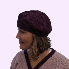 Ladies Womens Beret. Pure Wool Beret. Hand Knit Ladies Hat. Olive Green / Purple