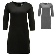 Vero Moda Damen Jersey-Etuikleid Shirtkleid Kleid 3/4 Short Dress Schwarz Grau