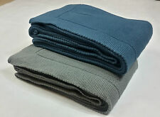 Luxury Knitted Throw 100% Cotton Sofa Blanket 130 x 170 cm Blue / Gray