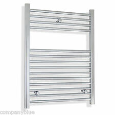 600mm wide / 800mm High Heated Chrome Towel Rail Rad Radiator Flat Bathroom Rad