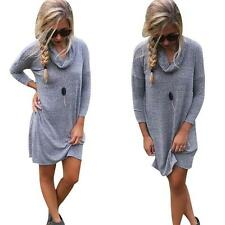 Winter Dress Women Dress Long Sleeve Dress Loose Short Mini Dress Sweater Dress