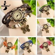 VINTAGE RETRO BEADED BRACELET LEATHER WOMEN WRIST WATCH - BUTTERFLY