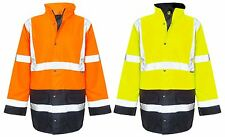 NEW MENS WATERPROOF HI VIS VIZ SECURITY JACKET PARKA PADDED HOODED WORK COAT