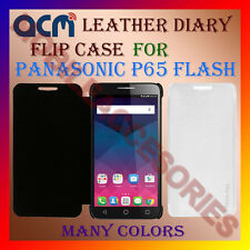 ACM-LEATHER DIARY FOLIO FLIP FLAP CASE for PANASONIC P65 FLASH FRONT/BACK COVER