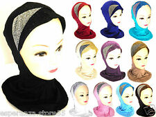 Women's  Islamic Glitter Hijab Crossover Bonnet Hats Scarf Neck Hair Cover Hijab