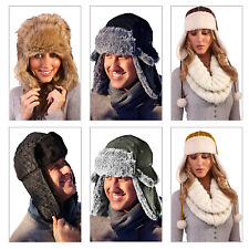Adults Trapper Hat Mens Womens New Faux Fur Or Soft Sherpa Lined Snug Accessory