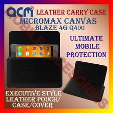 ACM-HORIZONTAL LEATHER CARRY CASE for MICROMAX CANVAS BLAZE 4G Q400 COVER POUCH