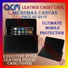 ACM-HORIZONTAL LEATHER CARRY CASE for MICROMAX CANVAS PACE 4G Q416 MOBILE COVER