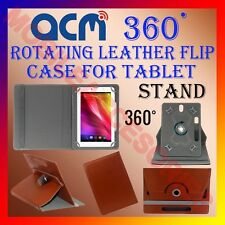 """ACM-ROTATING BROWN FLIP STAND COVER 10"""" CASE for IBALL SLIDE 1044 360 ROTATE TAB"""
