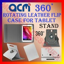 """ACM-ROTATING WHITE FLIP STAND COVER 10"""" CASE for HCL ME G1 360 ROTATE TABLET TAB"""