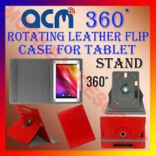 """ACM-ROTATING RED FLIP STAND COVER 10"""" CASE for IBALL SLIDE 1044 360 ROTATE TAB"""
