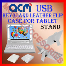 """ACM-USB KEYBOARD WHITE 7"""" CASE for BLACKBERRY PLAYBOOK TAB LEATHER COVER STAND"""