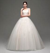 New Wedding Dress Lace Bridal Dress Formal Dresses Bowknot Ball Gowns US 4-16