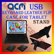 "ACM-USB KEYBOARD BLACK 10"" CASE for IBALL EDU-SLIDE I1017 LEATHER COVER STAND"