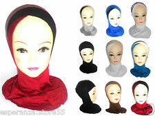 Women's Girls Islamic Plain Full Hijab Crossover Bonnet Scarf Neck Cover Hijab