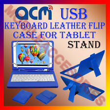 """ACM-USB KEYBOARD BLUE 10"""" CASE for UBISLATE 3G 10 TABLET TAB LEATHER COVER STAND"""