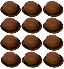 12 X BROWN FELT BOWLER HAT DERBY WITH BLACK BAND HISTORICAL VICTORIAN MULTI PACK
