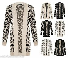 NEW WOMENS LADIES STAR LEOPARD SKULL CROSS OWL PRINT KNITWEAR CARDIGAN TOP 8-14