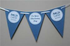 PD1 PERSONALISED CHRISTENING Boy Girls BUNTING BANNER Polka dot and text photo