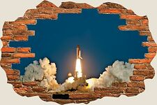 3D Hole in Wall Space Shuttle Discovery Launch View Wall Sticker Decal Mural 859