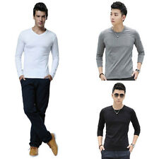 Moda Casual Uomo T-Shirt Slim Fit Top Di Cotone Girocollo Manica Lunga t-shirt