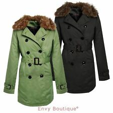 Ladies Womens Belted Trench Jacket Fur Collar Mac Padded Parka Outwear Coat