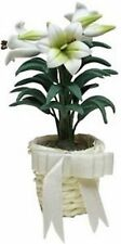 Dollhouse Miniature 1:12 White Easter Lily in Basket Planter by Bright deLights
