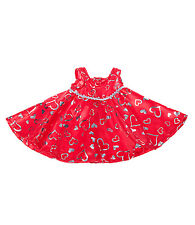 Red & Silver Heart Dress Teddy Bear Clothes Fits Most 14-18