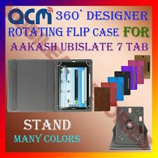 "ACM-DESIGNER ROTATING 360° 7"" COVER CASE STAND for AAKASH UBISLATE 7 TABLET TAB"