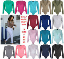 Womens Ladies Cross Over Wrap Long Sleeve Stretch Bodysuit T-Shirt Leotard Top