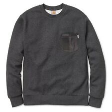 "Carhartt Herren Pullover ""Eaton Pocket"" Sweat Crew (I015480) Farbe: Black Heathe"