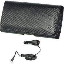 New Car Charger and Black Carbon Fiber Belt Clip Holster Pouch Case for Phones