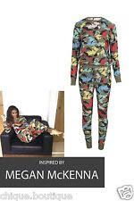 NEW WOMEN'S LADIES MULTI COLOURED CAMO JUMPER AND JOGGER BOTTOM TRACKSUIT SET