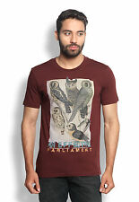 Wolfpack Men Round Neck Wildlife Animals Cotton T Shirts - Owl