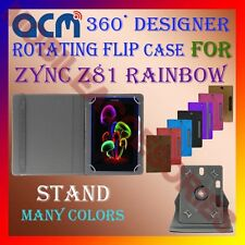 """ACM-DESIGNER ROTATING 360° 7"""" COVER CASE STAND for ZYNC Z81 RAINBOW TABLET TAB"""