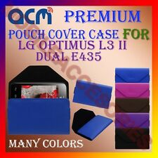 ACM-PREMIUM POUCH LEATHER CARRY CASE for LG OPTIMUS L3 II DUAL E435 MOBILE COVER