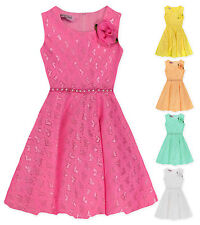 Girls Lace Sleeveless Party Dress New Kids Pretty Bridesmaid Dresses 3-4 Years
