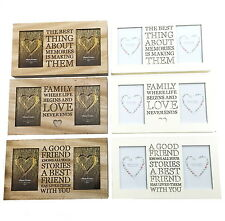 "Antique Effect Wooden Family Friend Memories Message 6x4"" Stand Wall Photo Frame"