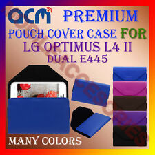 ACM-PREMIUM POUCH LEATHER CARRY CASE for LG OPTIMUS L4 II DUAL E445 MOBILE COVER