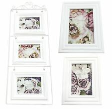 "White Shabby Chic Wooden Family Friends Xmas Gift Photo Frame 4""x 6"" or 5""x 7"""
