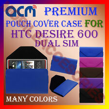 ACM-PREMIUM POUCH LEATHER CARRY CASE for HTC DESIRE 600 DUAL SIM MOBILE COVER