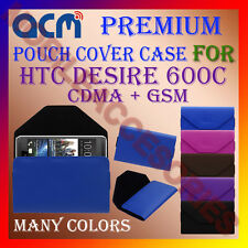 ACM-PREMIUM POUCH LEATHER CARRY CASE for HTC DESIRE 600C CDMA + GSM MOBILE COVER