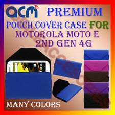 ACM-PREMIUM POUCH LEATHER CARRY CASE for MOTOROLA MOTO E 2ND GEN 4G MOBILE COVER