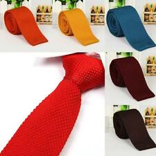 New Luxury Men Plain Woven Tie Necktie Solid Knitted Skinny Neck Tie Multi-color