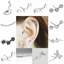 1Pcs Punk Cartilage Piercing Ear Stud Earrings Jewelry Crystal Flower Jewellery