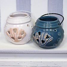 Nautical Sea Shell Ceramic Tealight Candle Holder - Lantern With Metal Handle